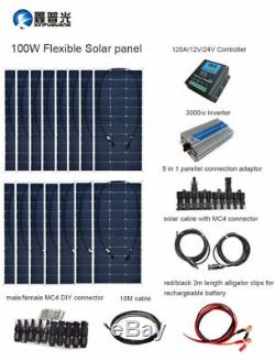 1500w Solar Panel Kit System+120A Controller+3000w Inverter for Home Boat RV Car