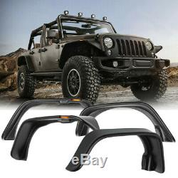 4x Car Fender Flares Black Texture Kit For 2007-2017 Jeep Wrangler JK Flat Style