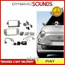 CTKFT05 Car Stereo Double Din Fascia Steering Beige Fitting Kit for FIAT 500