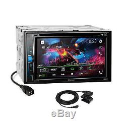 Pioneer 2018 DVD Bluetooth 2 Din Silver Dash Kit Harness for 05-07 Chrysler 300