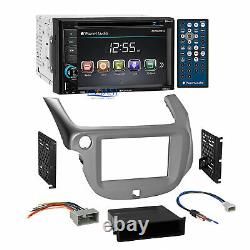 Planet Audio DVD Bluetooth Stereo Silver Dash Kit Harness for 2009-13 Honda Fit